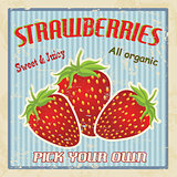Strawberry vintage poster