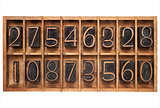 wood type numbers in a box