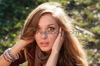 beautiful girl shocked