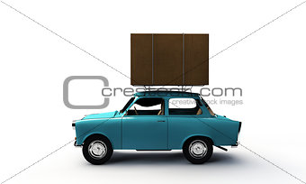 old car with a big box on top