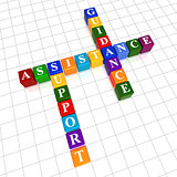 assistance, support, guidance in color cubes crossword