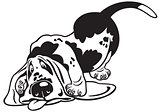 cartoon basset hound black white
