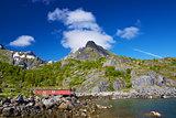 Norwegian hut in fjord