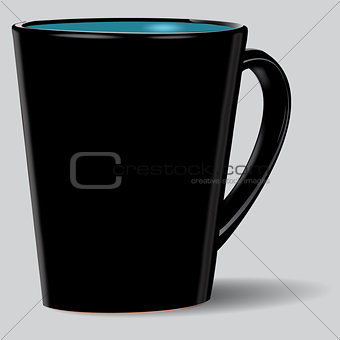 Black cup isolated.