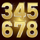 Golden Letters and Numbers Big and Small