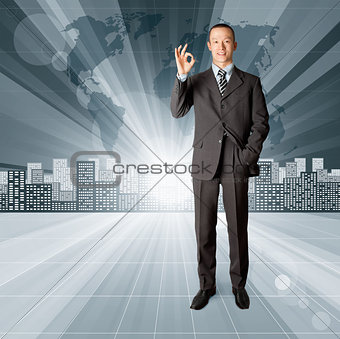 Business Man against Conceptual Background
