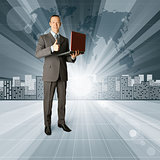 Business Man against Conceptual Background
