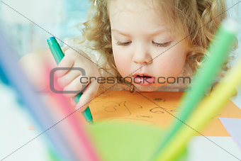 Absorbed in drawing