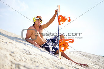 Sand-boarder at leisure