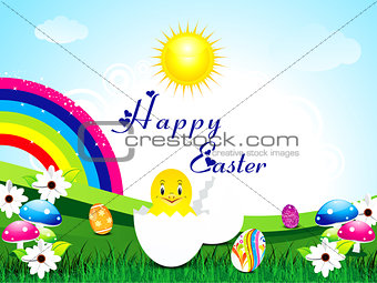 abstract easter background with rainbow