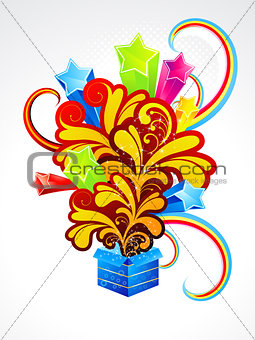 abstract exploded magic box with floral