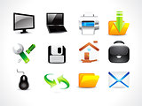 abstract glossy computre icon set
