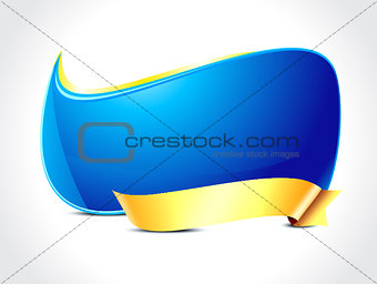 abstract glossy panel with gold ribbon