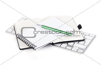 Office supplies and computer keyboard