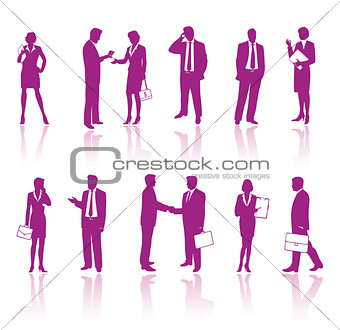 Business people vinous silhouettes