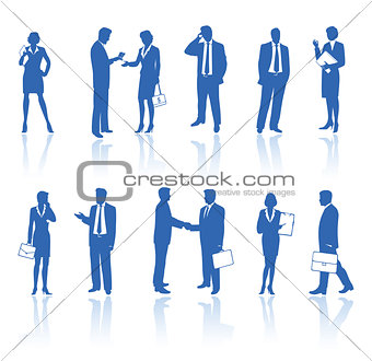 Business people blue silhouettes