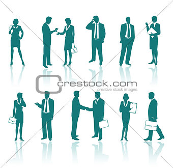 Business people green silhouettes