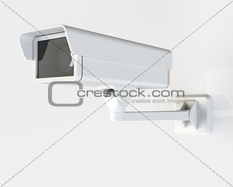 Modern Security Camera Mounted on the Building