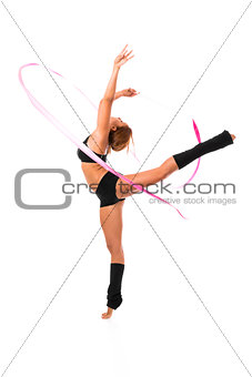Woman dancer with ribbon