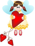 Cute fairy holding a heart