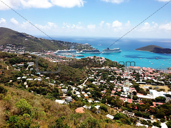 Beautiful View of St. Thomas Harbour with Cruise Ships