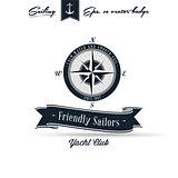 Comapass Vintage Retro Nautical Badge