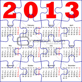 calendar for 2013,  jigsaw puzzle. Vector Illustration.