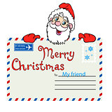 Santa Claus holds a mailing envelope with seal
