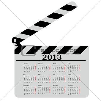 calendar for 2013,  movie clapper board. Vector Illustration.