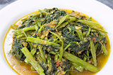 Spicy Kangkong Vegetables Stir Fry Closeup