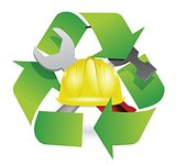recycle and construction symbol join together