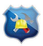 construction shield illustration