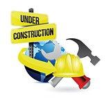 international globe under construction sign