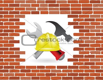 brick wall under construction