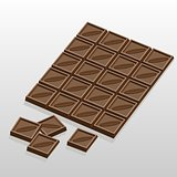 Chocolate bar and slices of chocolate