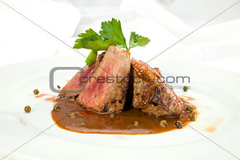 Grilled Sirloin with pepper sauce