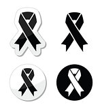 Black ribbon - mourning, death, melanoma symbol