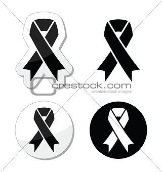Black ribbon - mourning, death, melanoma symbol