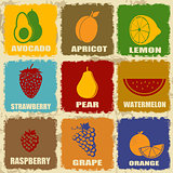 Vintage fruits icons