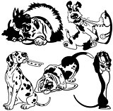 black white set with cartoon dogs
