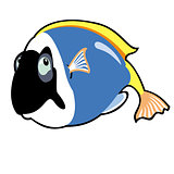 cartoon tropical fish blue tang