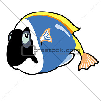 cartoon tropical fish blue tang