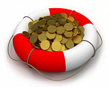Coins in lifesaver.