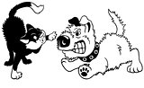 dog and cat fighting black white