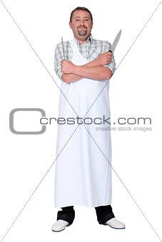 a butcher posing