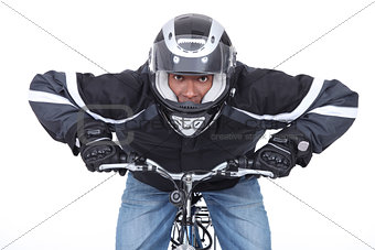 Motorcyclist on a push bike