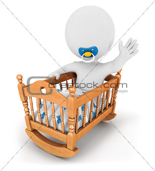 3d white people baby in cradle