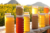 Bottles of fresh honey
