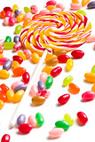 colorful lollipop with jelly beans