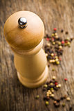 closeup of wooden pepper mill